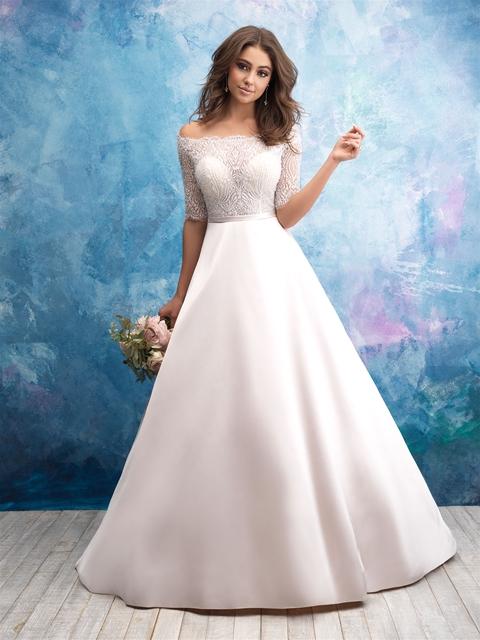 Off The Shoulder Illusion Sweetheart Bodice Satin Skirt Wedding ...