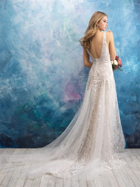 V-neck Sleeveless Beaded A-line Wedding Dress by Allure Bridals - Image 2