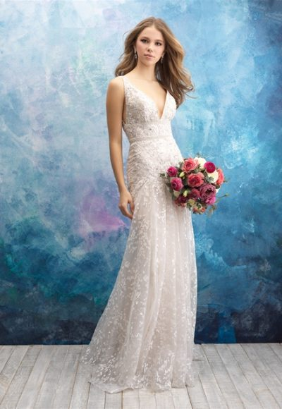 V-neck Sleeveless Beaded A-line Wedding Dress by Allure Bridals