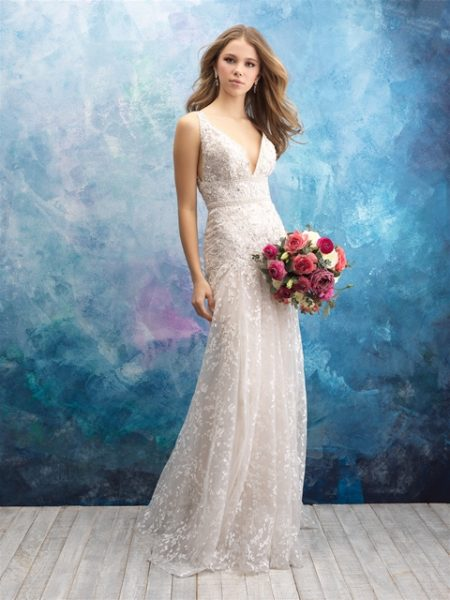 V-neck Sleeveless Beaded A-line Wedding Dress by Allure Bridals - Image 1