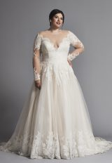 A-line Lace Wedding Dress With Illusion Long Sleeves by Danielle Caprese - Image 2