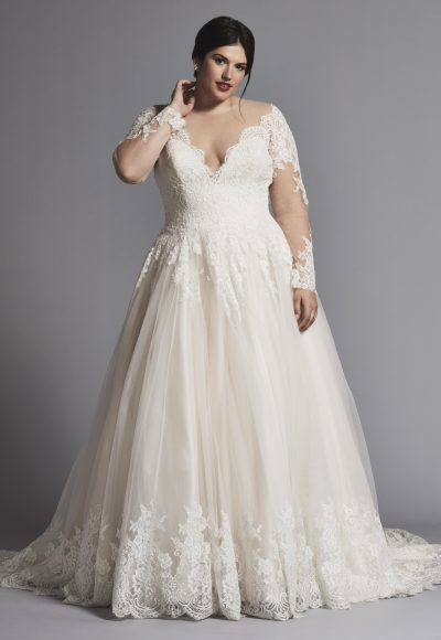 A Line Lace Wedding Dress With Illusion Long Sleeves By Danielle Caprese