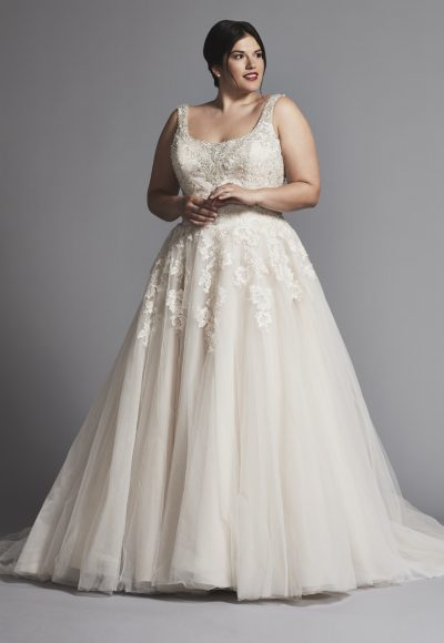 Beaded Scoop Neck With Tulle Skirt Wedding Dress by Danielle Caprese