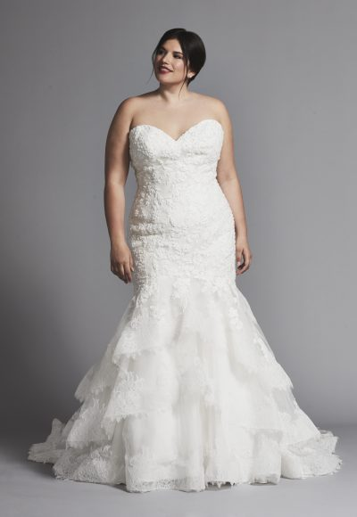 Ruffle Mermaid Skirt Wedding Dress With Beaded Bodice by Danielle Caprese