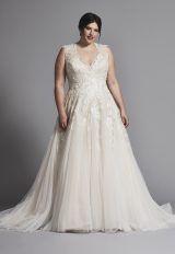 Sleeveless V-neck Tulle A-line Wedding Dress by Danielle Caprese - Image 1