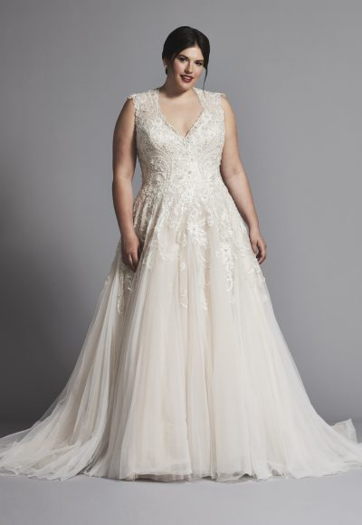Sleeveless V-neck Tulle A-line Wedding Dress by Danielle Caprese