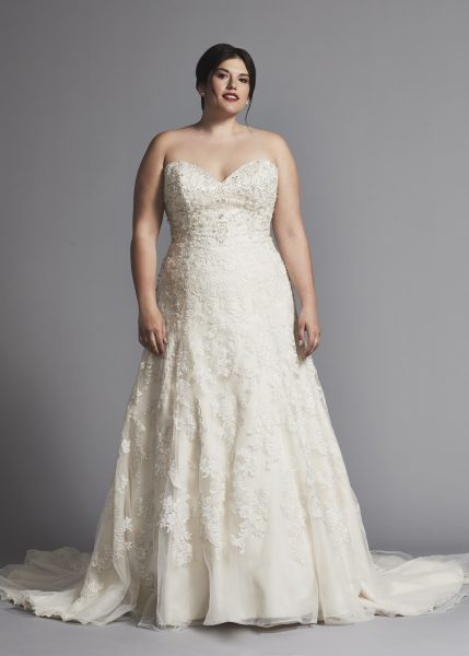 Strapless A-line Beaded Wedding Dress by Danielle Caprese - Image 2