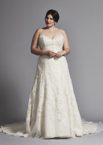 Strapless A-line Beaded Wedding Dress by Danielle Caprese - Image 1