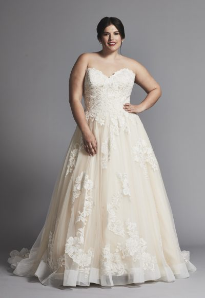 Strapless A-line Lace Wedding Dress With Horsehair Trim by Danielle Caprese