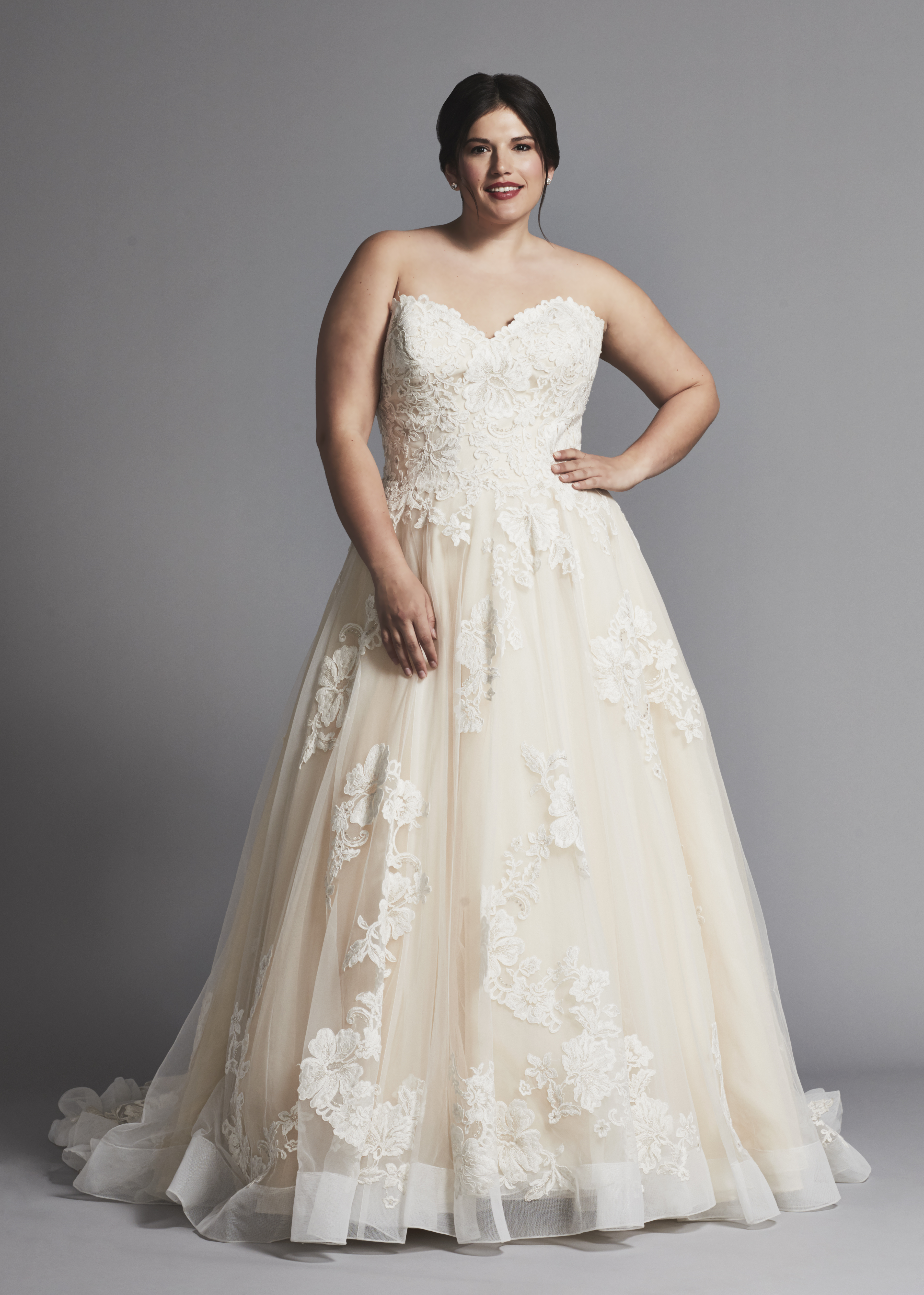 Strapless A Line Lace Wedding Dress With Horsehair Trim Kleinfeld