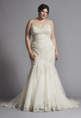 Strapless Fit And Flare Beaded Wedding Dress by Danielle Caprese - Image 1
