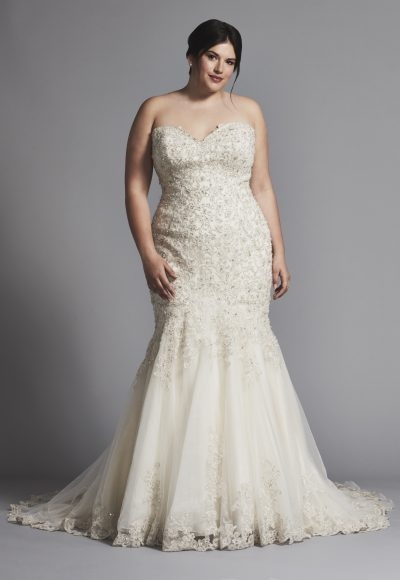 Strapless Fit And Flare Beaded Wedding Dress by Danielle Caprese