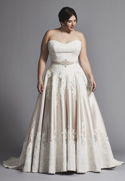 Strapless Lace And Satin A-line Wedding Dress by Danielle Caprese