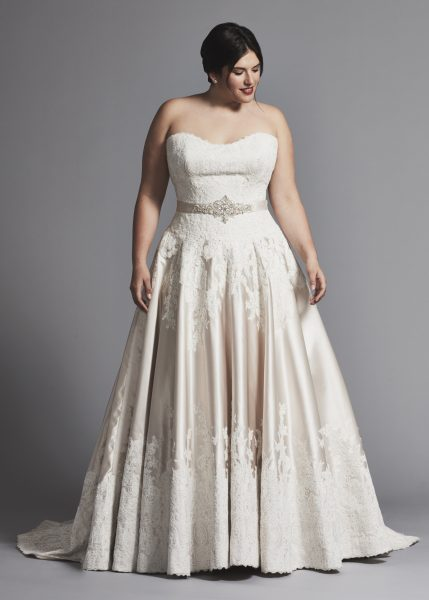 Strapless Lace And Satin A-line Wedding Dress by Danielle Caprese - Image 1