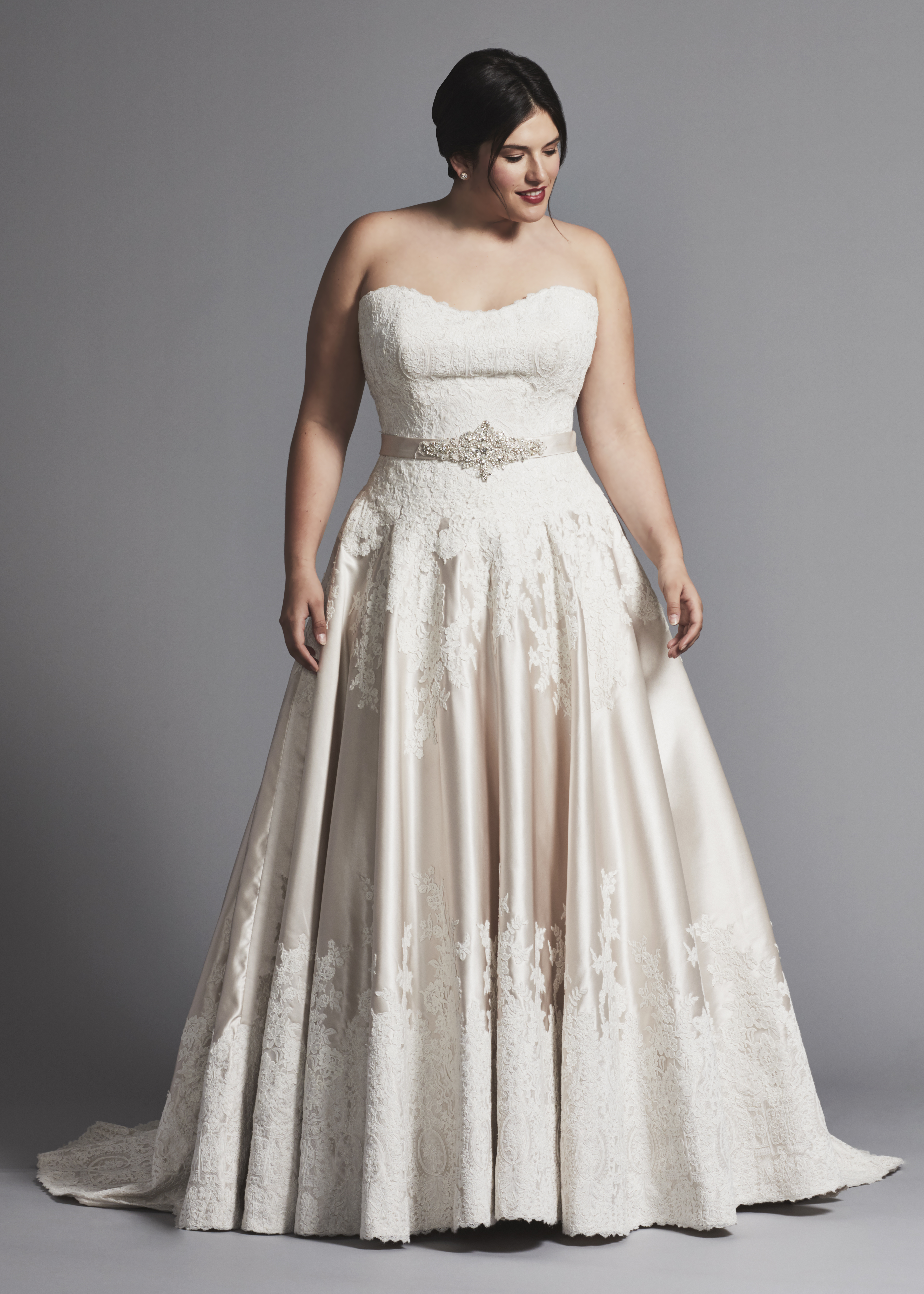 Strapless Lace And Satin A-line Wedding Dress   Kleinfeld Bridal