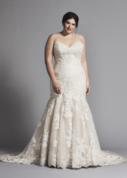 Strapless Lace Mermaid Wedding Dress by Danielle Caprese - Image 1