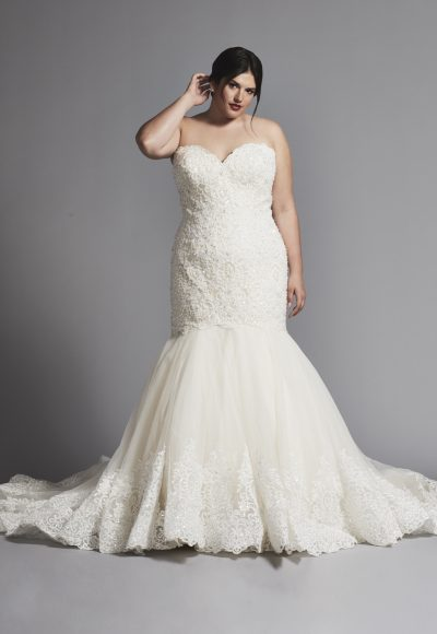 Mermaid Wedding Dress With Beaded Lace Bodice And Tulle Skirt by Dennis Basso