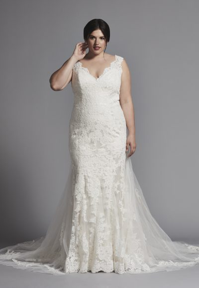 Sleeveless Fit And Flare Lace Wedding Dress by Dennis Basso