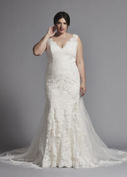 Sleeveless Fit And Flare Lace Wedding Dress by Dennis Basso - Image 1