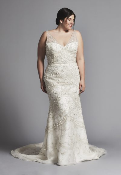 Beaded Sleeveless Fit And Flare V-neck Wedding Dress by Enaura Bridal