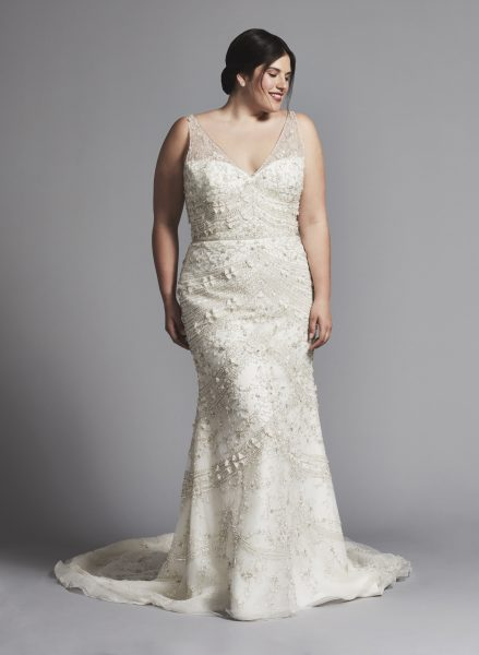 Beaded Sleeveless Fit And Flare V-neck Wedding Dress by Enaura Bridal - Image 1