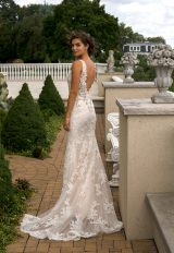 Beaded V-neck Fit And Flare Wedding Dress by Eve of Milady - Image 2