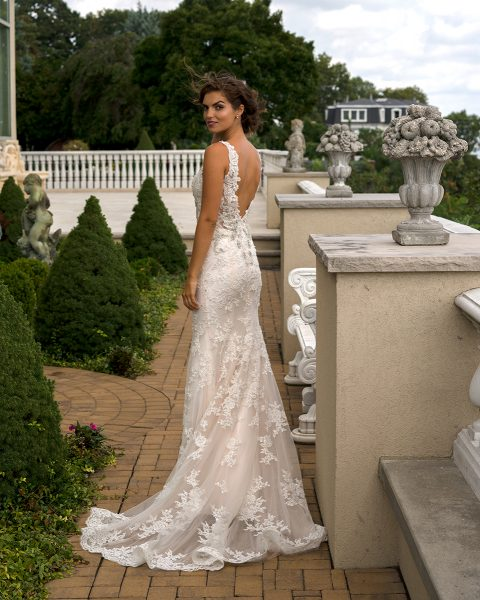 Real Brides Fit And Flare: Beaded V-neck Fit And Flare Wedding Dress