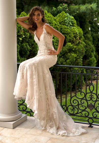 Beaded V-neck Fit And Flare Wedding Dress by Eve of Milady