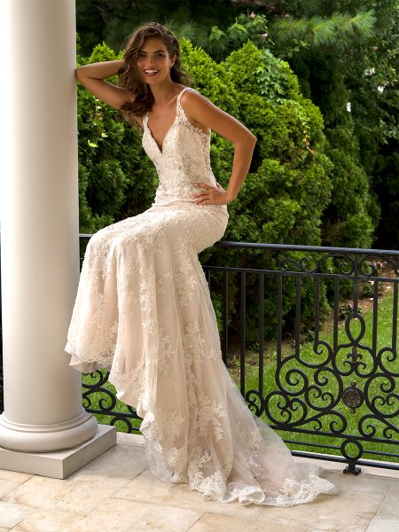 Beaded V-neck Fit And Flare Wedding Dress by Eve of Milady - Image 1
