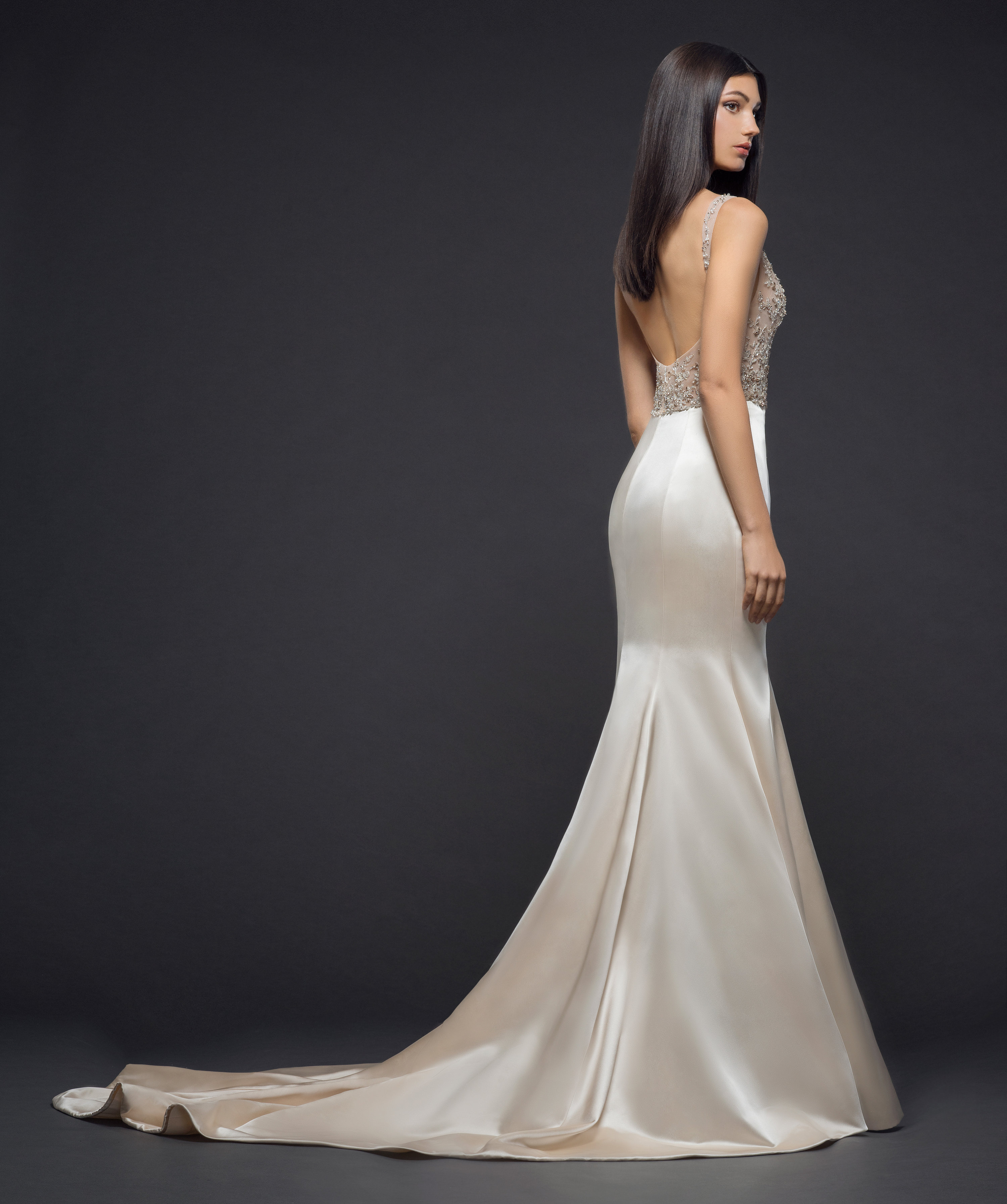 Real Brides Fit And Flare: Sleeveless Beaded Bodice Silk Fitted Skirt Fit And Flare