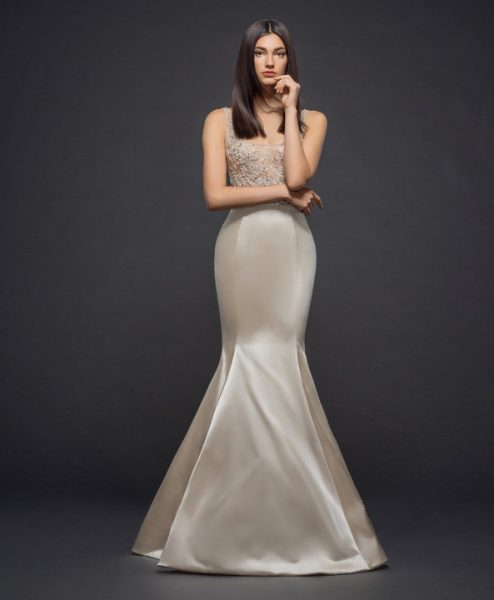 Sleeveless Beaded Bodice Silk Fitted Skirt Fit And Flare Wedding Dress by Lazaro - Image 1