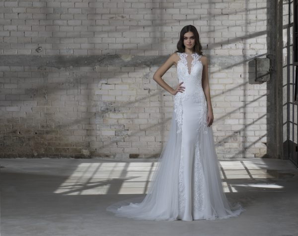 High Neck Sleeveless Fit And Flare Lace Embroidered Wedding Dress by Love by Pnina Tornai - Image 2
