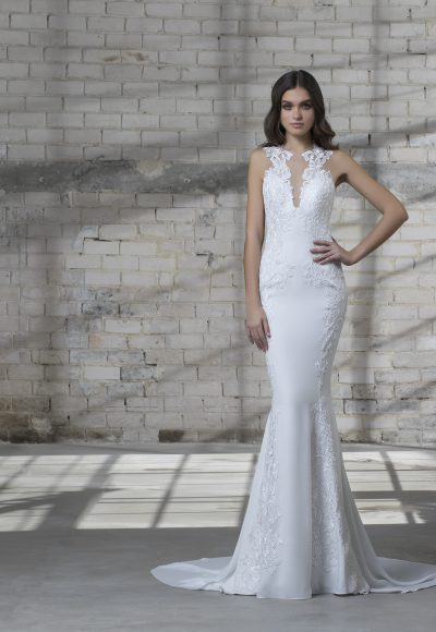High Neck Sleeveless Fit And Flare Lace Embroidered Wedding Dress by Love by Pnina Tornai