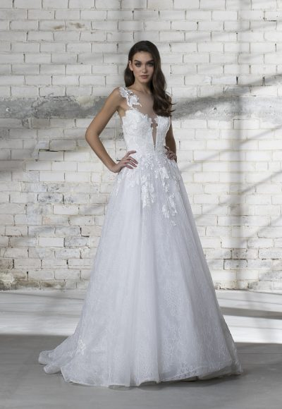 Illusion Top Lace Detailed A-line Wedding Dress by Love by Pnina Tornai