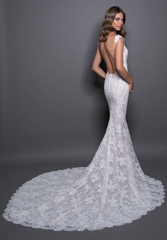 Lace Detailed V-neck Fit And Flare Wedding Dress by Love by Pnina Tornai - Image 2