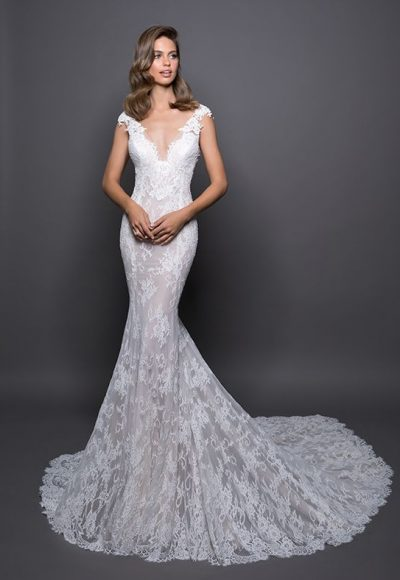 Lace Detailed V-neck Fit And Flare Wedding Dress by Love by Pnina Tornai