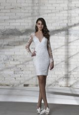 Long Sleeve Lace Detailed V-neck Short Wedding Dress by Love by Pnina Tornai - Image 1