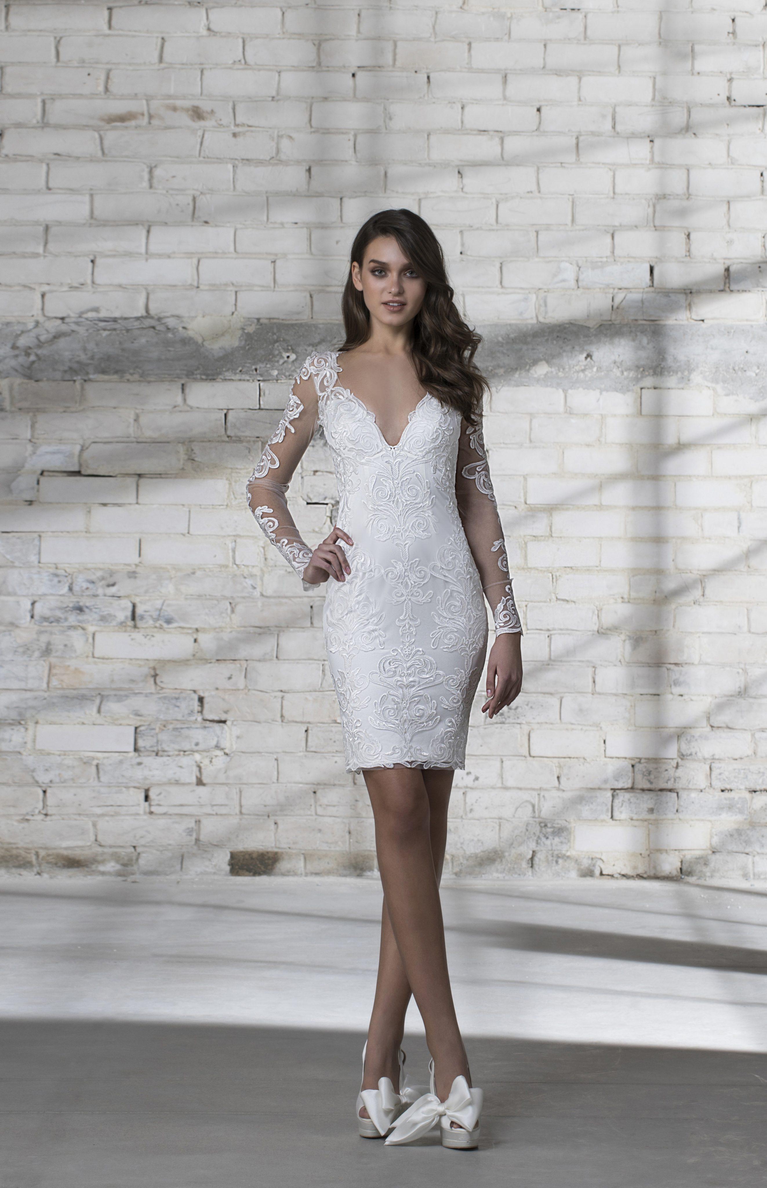 Long Sleeve Lace Detailed V-neck Short Wedding Dress | Kleinfeld Bridal