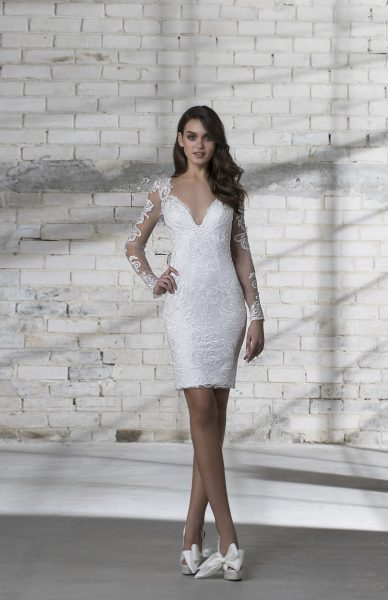 c8cc671bd77 Long Sleeve Lace Detailed V-neck Short Wedding Dress by Love by Pnina  Tornai -