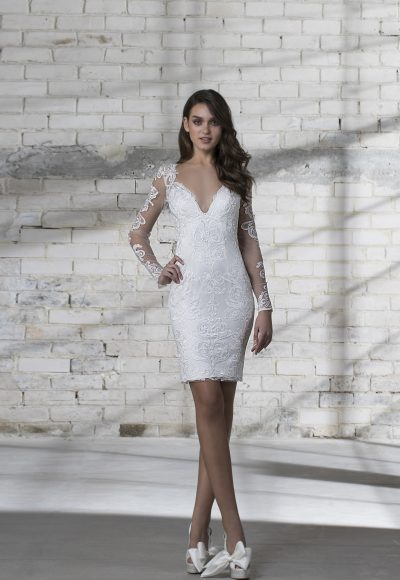 Long Sleeve Lace Detailed V-neck Short Wedding Dress by Love by Pnina Tornai