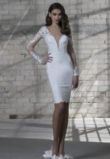 Long Sleeve Short Length Plunging Neckline Wedding Dress by Love by Pnina Tornai - Image 1