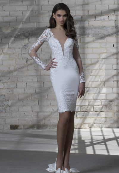 Long Sleeve Short Length Plunging Neckline Wedding Dress by Love by Pnina Tornai