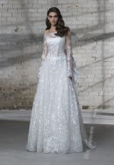 Off The Shoulder Long Sleeve Appliqued A-line Wedding Dress by Love by Pnina Tornai - Image 1