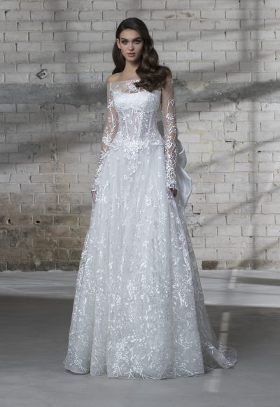 Off The Shoulder Long Sleeve Appliqued A-line Wedding Dress by Love by Pnina Tornai