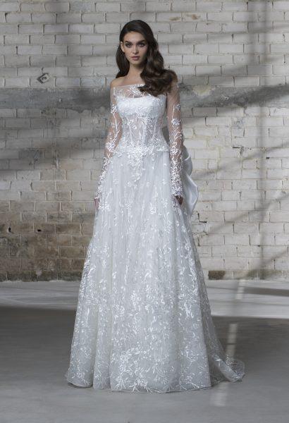 Off The Shoulder Long Sleeve Appliqued A-line Wedding Dress ...