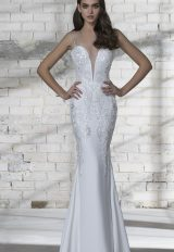 Plunging Neckline Sequin Detailed Sheath Wedding Dress by Love by Pnina Tornai - Image 1