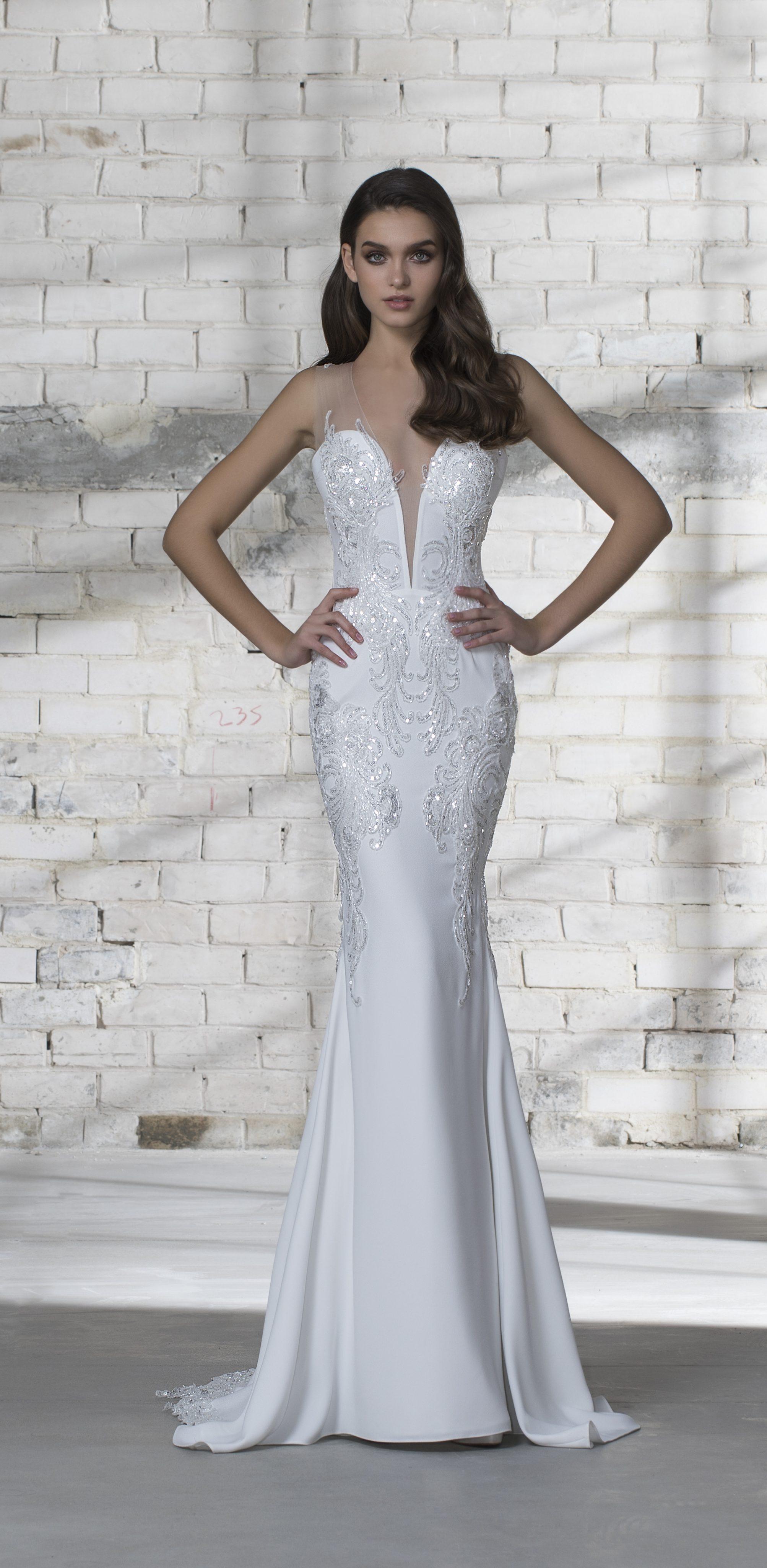 bfa6bc549 Plunging Neckline Sequin Detailed Sheath Wedding Dress