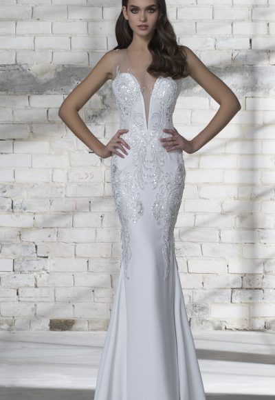 Plunging Neckline Sequin Detailed Sheath Wedding Dress by Love by Pnina Tornai