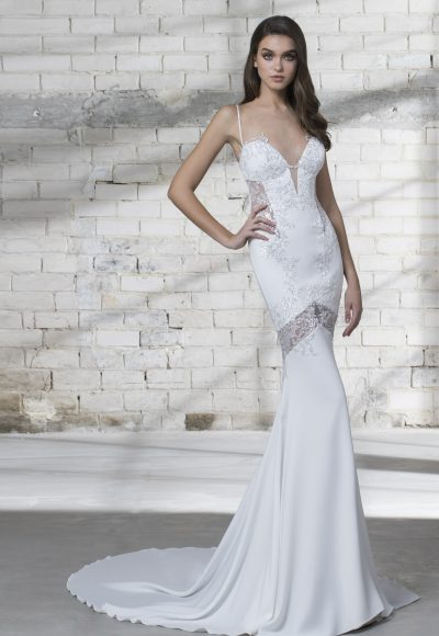 Sexy Deep Sweetheart Neck Spaghetti Strap Wedding Dress by Love by Pnina Tornai