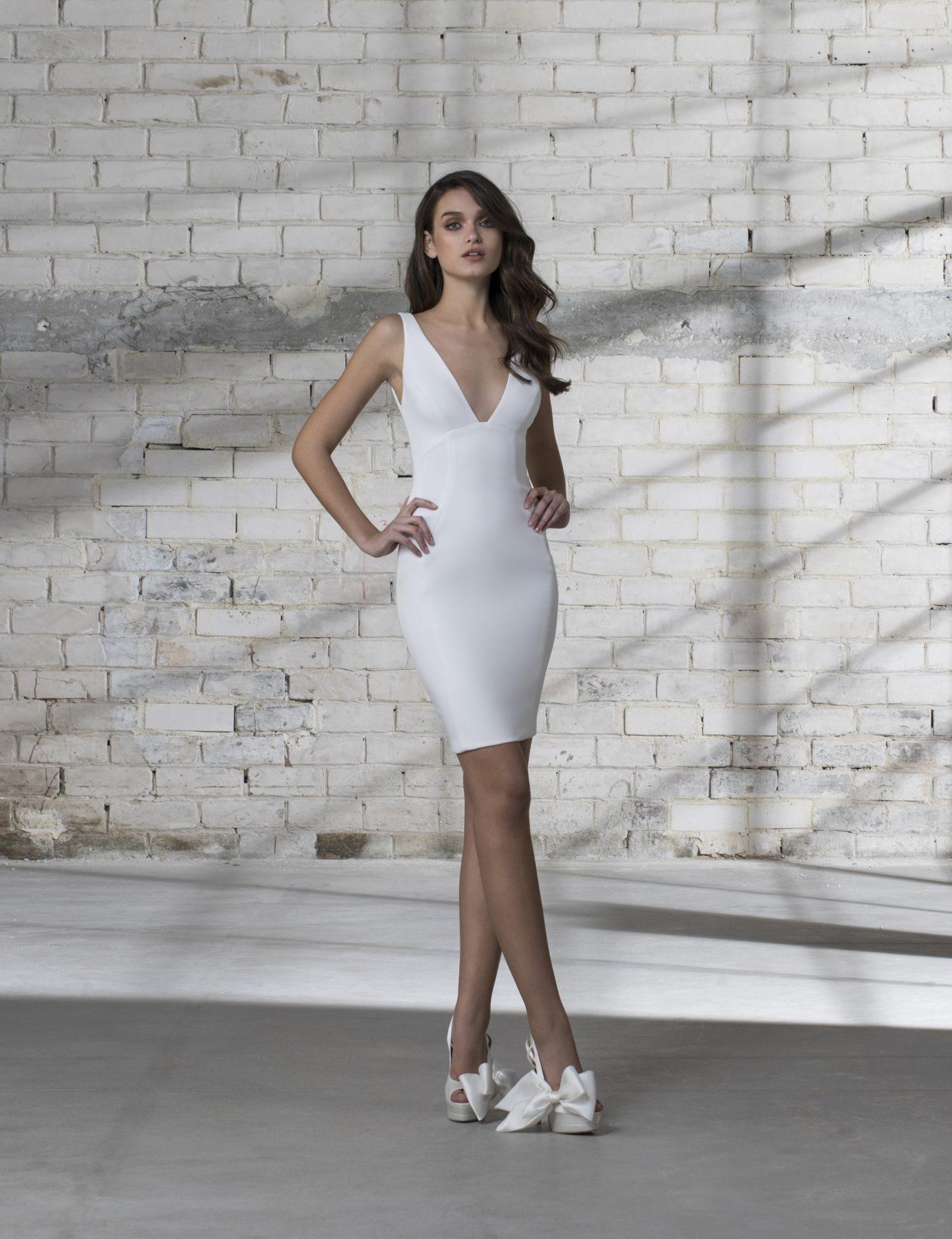 Sleeveless V neck Short Wedding Dress   Kleinfeld Bridal
